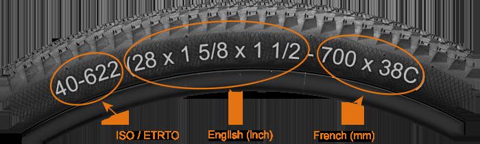 Size marking on a bike tire sidewall